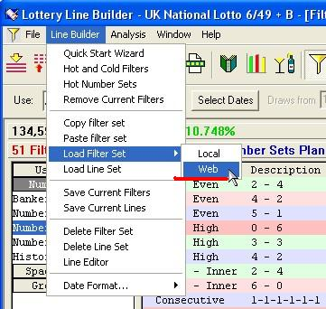 Web access to lottery filter sets